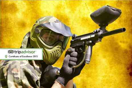 Asylum Paintball - Half day indoor paintballing experience for up to five including 100 paintballs each a drink and a snack  - Save 95%