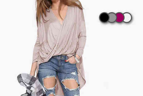 LOVE TTI  - Draped V neck asymmetric top - Save 76%