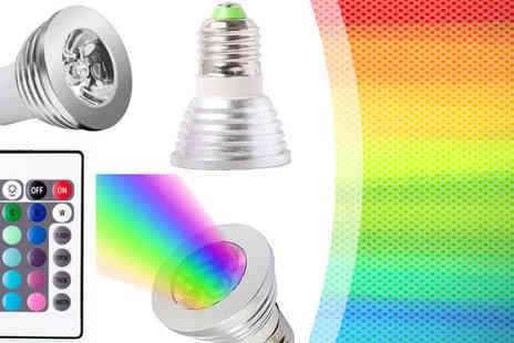 Eskkay - LED Colour Changing Bulbs for Pack of 4 With Remote - Save 86%