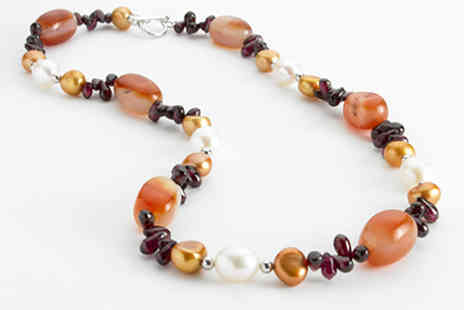 Lyncroft Marketing - Agate, Garnet and Pearl Necklace - Save 0%