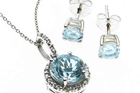 Lyncroft Marketing - Blue Topaz and Diamond Pendant and Blue Topaz Earrings - Save 0%