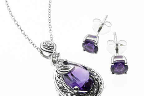 Lyncroft Marketing - Fabulous Amethyst and White Topaz Pendant and Earrings - Save 0%