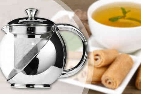 The Treasure Chest - Stainless Steel And Glass Tea Infuser Teapot - Save 65%