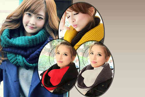 Eden Wear - Two tone chunky cowl wrap scarf - Save 80%