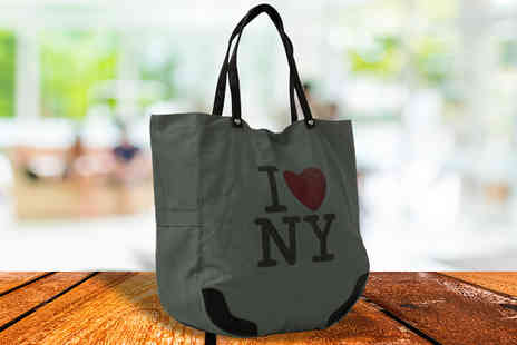 HomeStore Direct - I Love NY  Grey Canvas Tote Bag - Save 55%