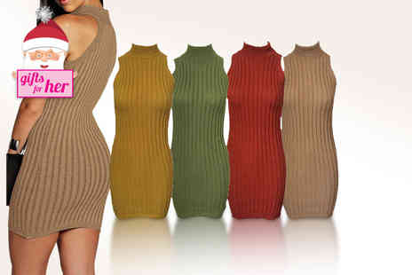 Top Notch Fashion Designer - Knitted bodycon tunic dress valid  - Save 75%