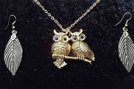 Fashion Sparkles 4 U - Owl Couple Pendant Necklace & Leaf Earrings - Save 64%