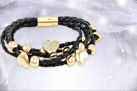 Simply 24k - Faux leather flower or heart bracelet made with Swarovski Elements - Save 75%