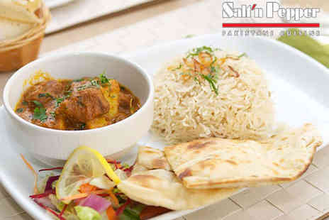 Saltn Pepper - Three Course Indian Meal with Glass of Prosecco or Wine, or Soft Drink for Two - Save 48%