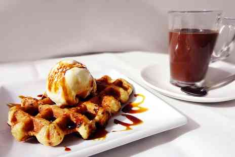 Gelato Mio - Belgian Waffles With Ice Cream and Drinks For Two - Save 51%