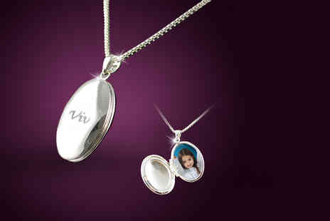 Jewelian - Personalised oval locket with space for two photos choose from silver gold or rose gold colours- Save 88%