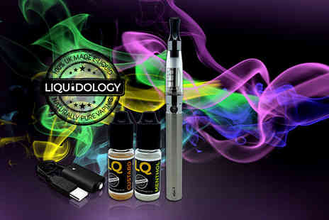 Liquidology - Five pc e cigarette starter pack including Clearomiser electronic cigarette, USB charging cable and 2 e-liquids - Save 69%