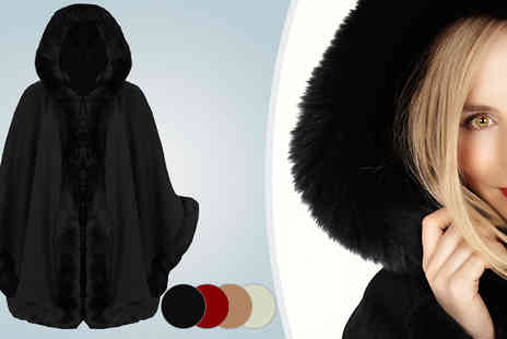 Giftright - Hooded Faux Fur Trimmed Poncho Cape - Save 51%