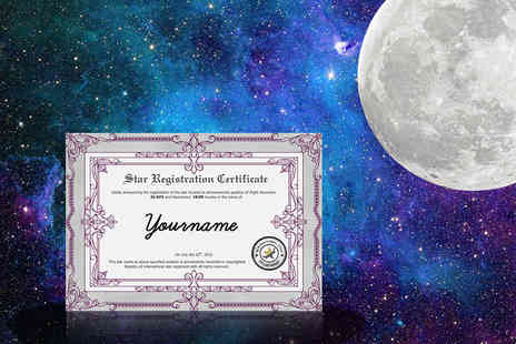 KnockOut Deals - Personalised  Name A Star gift PDF registration certificate, star chart & photo e book - Save 61%