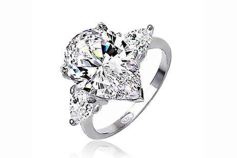 Elle and Be - 4.1 Carat CZ Crystal Platinum Plated Ring - Save 73%