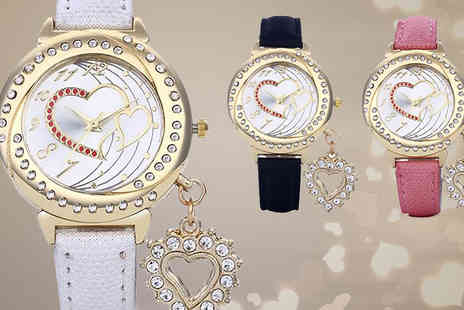 Romatco - Crystal Heart Charm Watch in 3 Colours - Save 80%