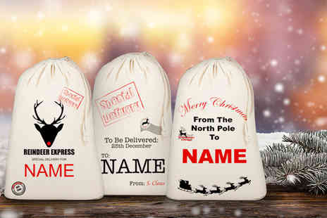 D3 Office Group  - Personalised cotton Christmas Santa sack   - Save 71%