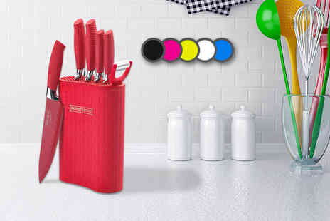 Talbot Trading - Six pc non stick knife and utensil kitchen set with stand - Save 86%