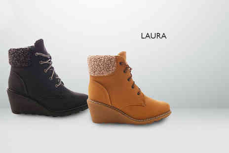 Sole Wish - pair of gorgeous faux fur or faux leather lined wedge boots - Save 81%