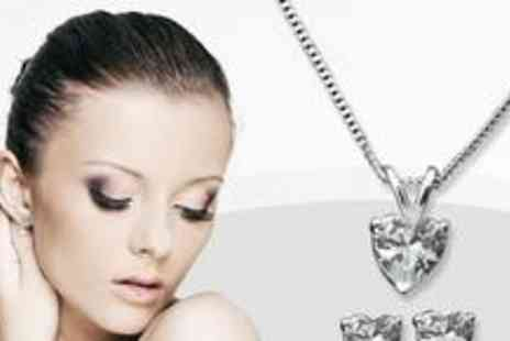 Jewellery Hall - Heart pendant and earring jewellery set - Save 80%