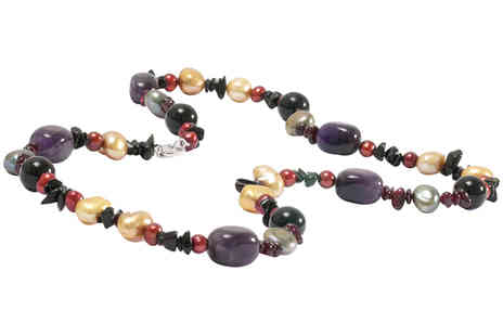 Lyncroft Marketing Services -  Amethyst and Onyx Necklace - Save 0%