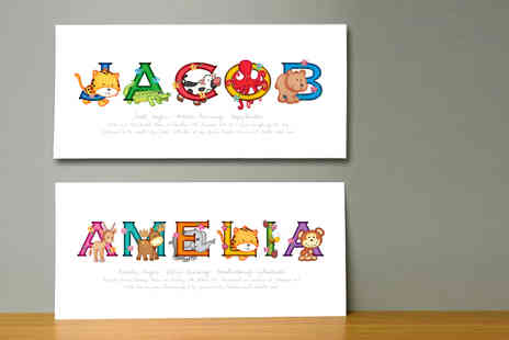 Frame My Name - Childrens personalised  animal adventures name print - Save 67%