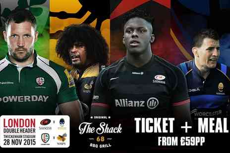 Premiership Rugby - Ticket to London Double Header Plus Meal and Drink  - Save 0%