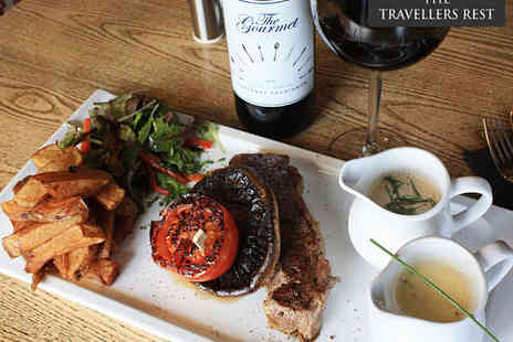 The Travellers Rest - Sirloin Steak Meal and Choice of Sauce Each with Bottle of Wine for Two - Save 52%