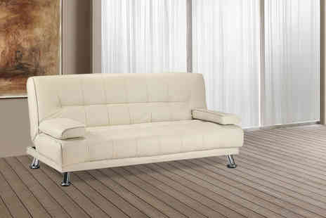 Wowher Direct - Faux leather sofa bed in a choice of cream - Save 70%