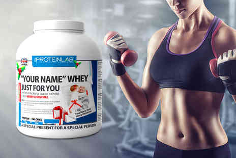 The Protein Lab - 2.25kg of whey protein powder personalise with a photo and name - Save 64%