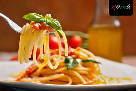 Roma - Pizza, Pasta or Risotto Each with Bottle of Wine to Share for Two - Save 60%