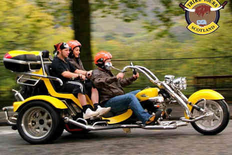 Trike Tours Scotland - Trike Tour for Two of Loch Lomond, Edinburgh, Callander, Perthshire or South Queensferry with Photo Shoot, Hot Drink and Shortbread Each - Save 61%