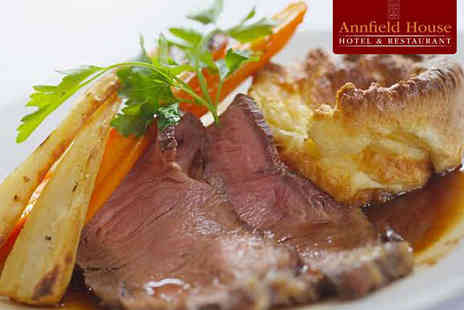 Annfield House - Two Course Sunday Lunch with Starter, Main Course and Tea or Coffee Each for Two - Save 47%