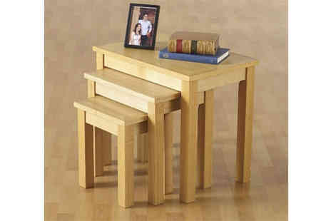 Dealrooms  - Oak Veneer Nest of Tables with Free P&P - Save 50%