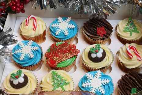3D Cakes - 12 Gourmet or Gold Bespoke Christmas Cupcakes - Save 77%