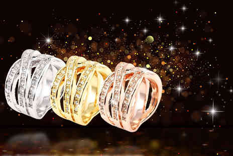 Bijou Amour - 18ct rose, white or yellow gold plated interlaced crossover ring made with Swarovski Elements - Save 85%