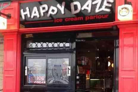Happy Daze - Belgian Waffle With Ice Cream and Drink For Two or Four  - Save 55%