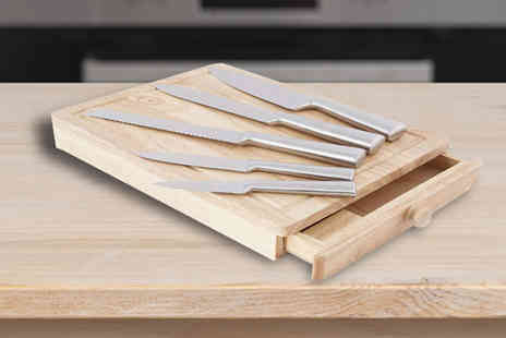 Internet Shop - Five pc Knife, Chopping Board and Drawer Set - Save 53%