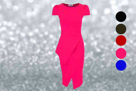 Fantasia Boutique - Asymmetric Neon Bodycon Midi Dress - Save 32%