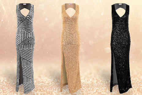 Fantasia Boutique - Floor Length V Neck Sequin Dress Three Colours - Save 47%
