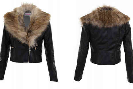 Fantasia Boutique - Cropped Biker Jacket with Detachable Faux Fur Collar - Save 54%