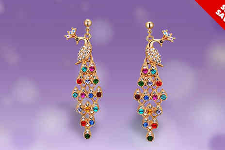 Fish Called Geoff - One or Two Pairs of Multicoloured Peacock Earrings - Save 50%