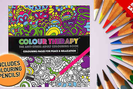 Giftright - Two Anti Stress Adult Colouring Book with Colouring Pencils - Save 58%