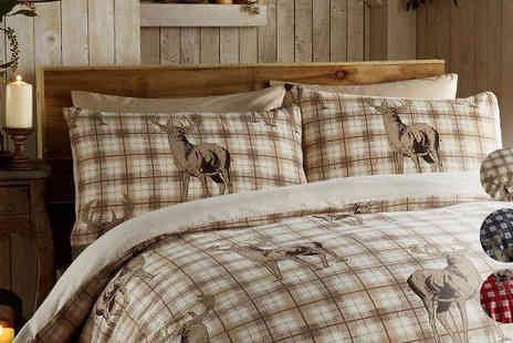 Gorgeous Selection - Double or King Richmond Snows Reindeer Reversible Bedding Set - Save 76%