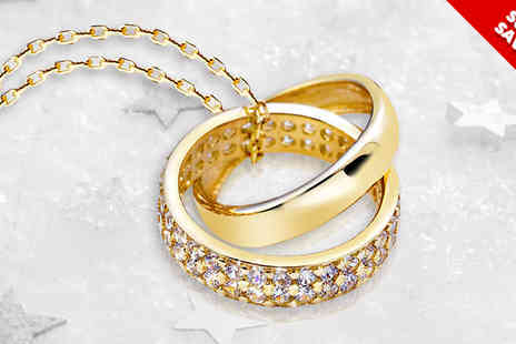 Van Amstel diamond - Gold Plated Double Ring Crystal Pendant - Save 82%