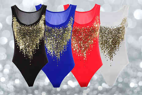 Fantasia Boutique - Sleeveless Gold Sequin Mesh Leotard Choose from Four Colours - Save 25%