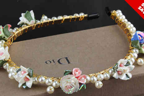 Rose River - Vintage Style Flower and Faux Pearl Hairband - Save 37%