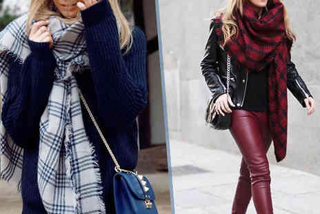 Eden Wear - Oversized Winter Warm Tartan Scarf Available in Three Colours - Save 74%