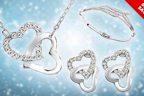 AthenaFashion E-Store - 18k White Gold Plated Love Heart Tri Set - Save 90%