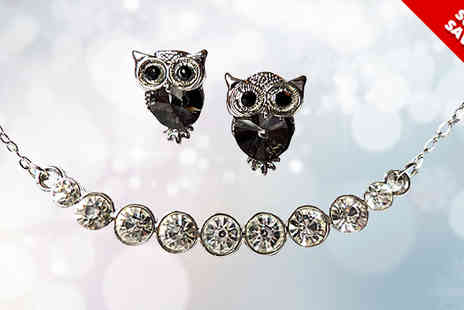 Fashion Sparkles 4 U - Crystal Row Pendant Necklace with Owl Earrings - Save 66%